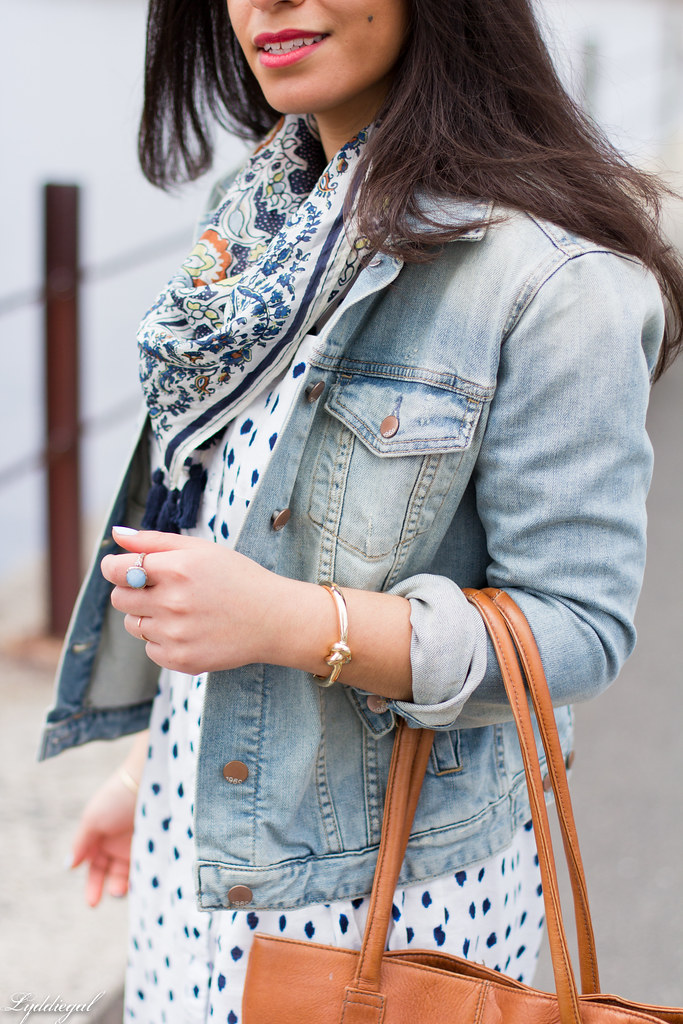 polka dot shirt dress, denim jacket, scarf-4.jpg