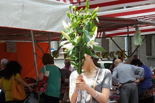 Un bouquet di fiori di giglio in arrivo