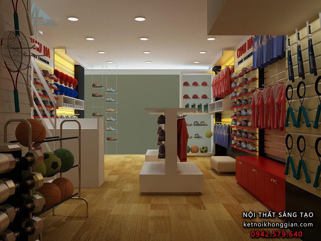 Thiết kế cửa hàng thể thao Châu hà
