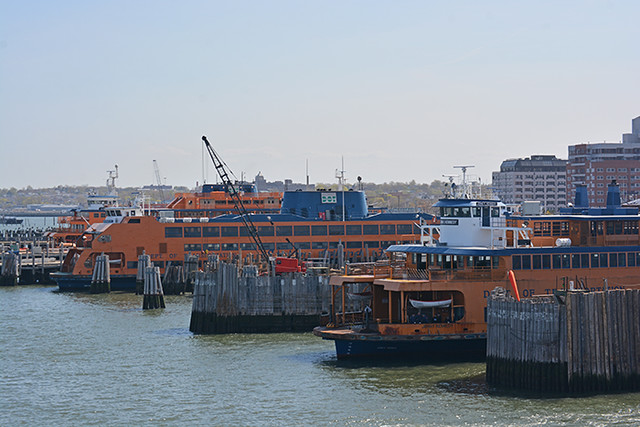 ferries at Staten Island terminal