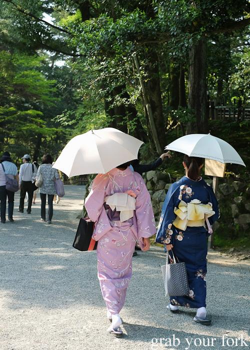 Kimonos at Kenrokuen Garden in Kanazawa, Japan