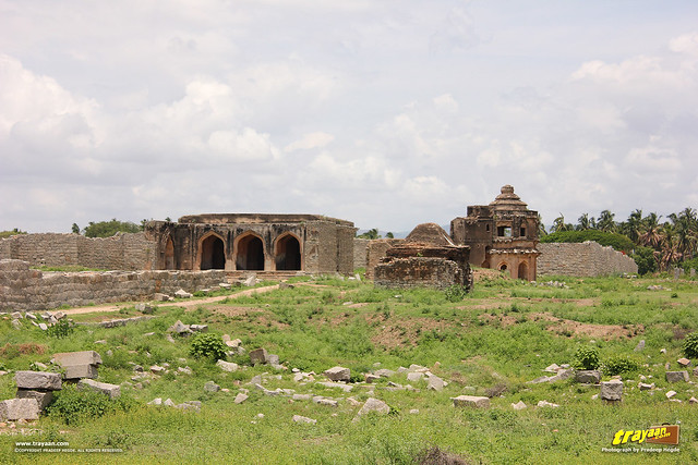 Monuments in Dannaik's Enclosure, Hampi, Ballari district, Karnataka, India