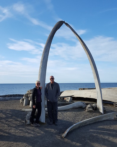 Laura & Fred at Whale Bone Arch in Barrow, AK