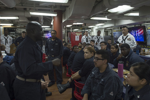 PHILIPPINE SEA (Sept. 11, 2016) – The crew of the Arleigh Burke-class guided-missile destroyer USS Curtis Wilbur (DDG 54) held a Sept. 11 memorial observance on the mess decks.