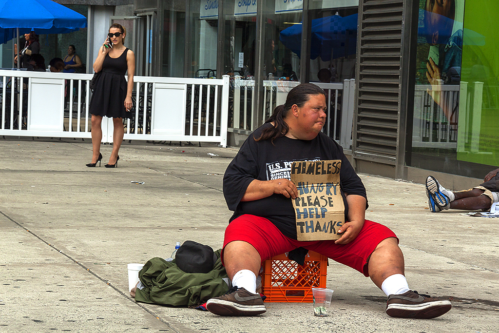Large person begging on 5-24-16--Center City