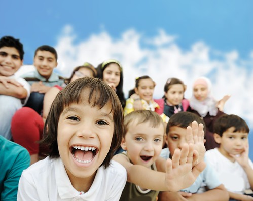 Smiling group of diverse children