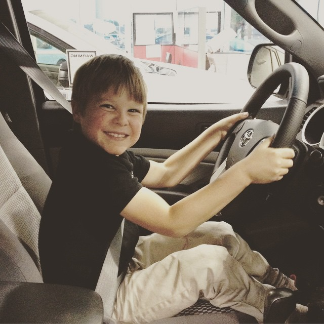Beloved Son enjoyed car shopping with us.