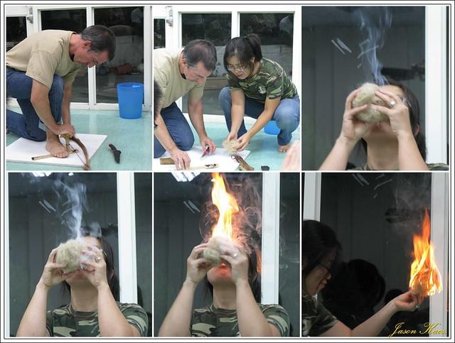 用雙手以草木生火的過程。圖片來源:七世代自然生活學校。
