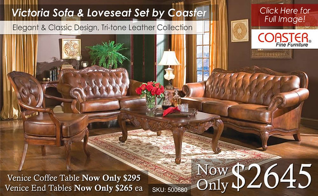 Victoria Leather Sofa & Loveseat