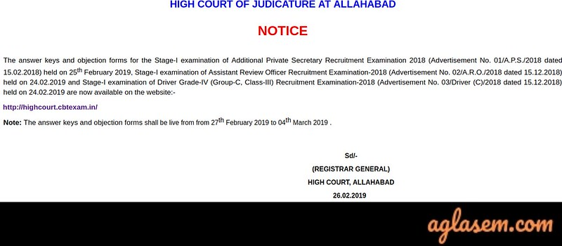 Notice of Allahabad High Court ARO Answer Key
