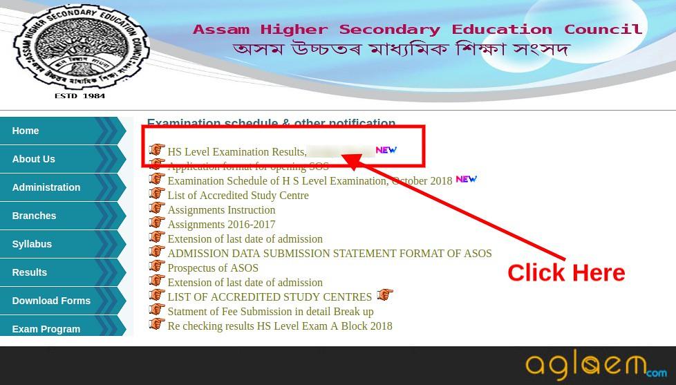 Assam SOS 12th Result April 2019