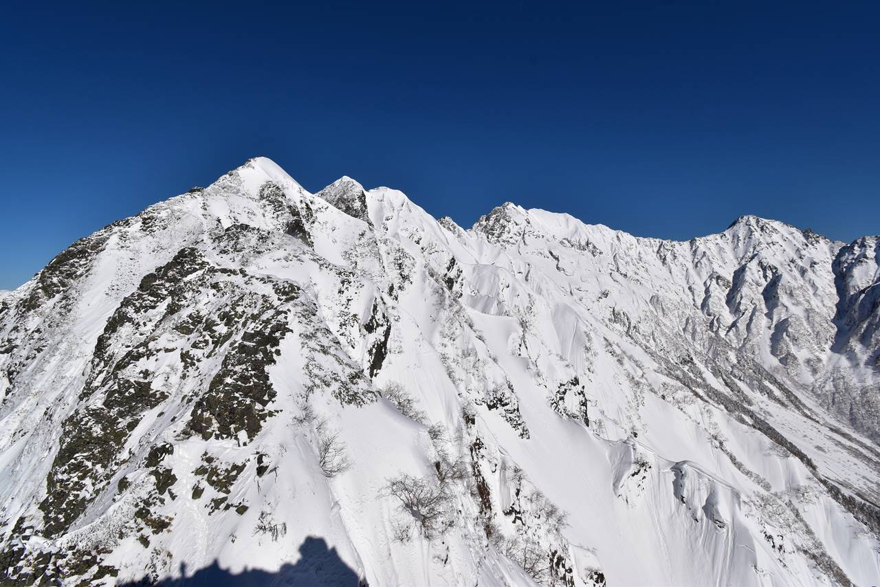 独標から眺める雪の穂高連峰
