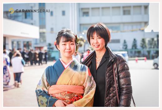 成人式会場にてママと記念撮影 愛知県蟹江町