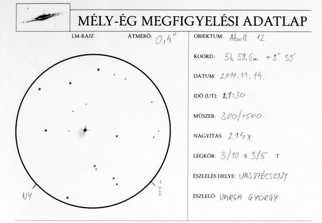 VCSE - Rajzos észlelés az Abell 12 planetáris ködről és környezetéről - Varga György munkája