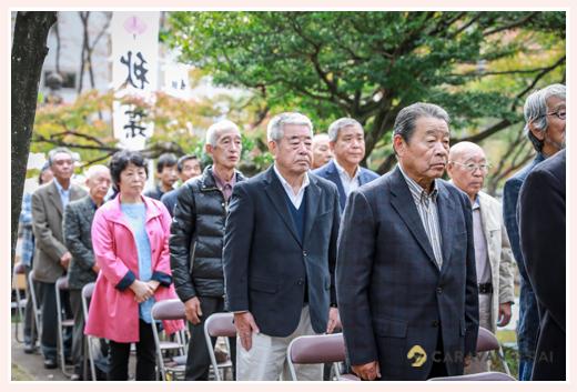神社の神事に参列する地域の人 愛知県瀬戸市