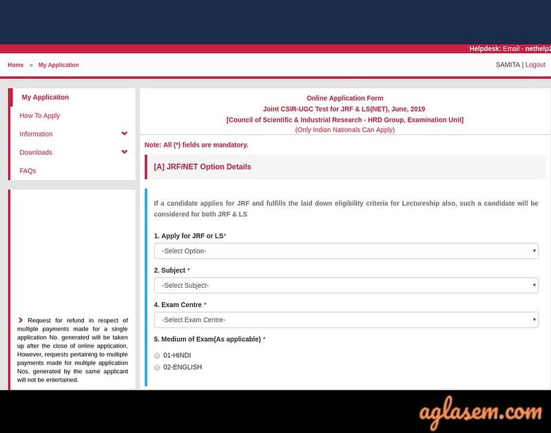 CSIR UGC NET Application Form