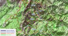 Carte du Haut-Cavu avec les chemins du Plan Terrier (vert) et du Cadastre Napoléon (ocre) plus les chemins restaurés (bleu)  ou en cours (bleu pointillé)