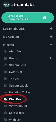 サイドバーの Widgets 内、Chat Box の場所