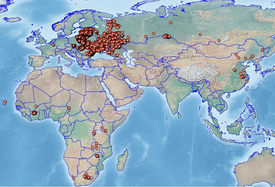 截至2018年9月22日的世界非洲豬瘟流行圖。Danvasilis/維基百科