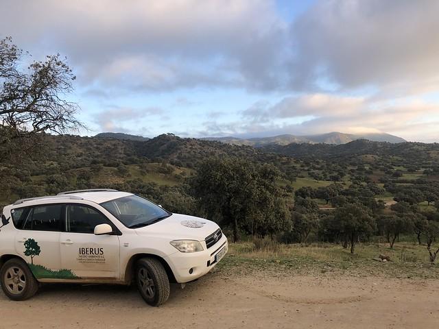 Coche de Iberus Medio Ambiente en la Sierra de Andújar, probablemente el mejor lugar para ver linces en España