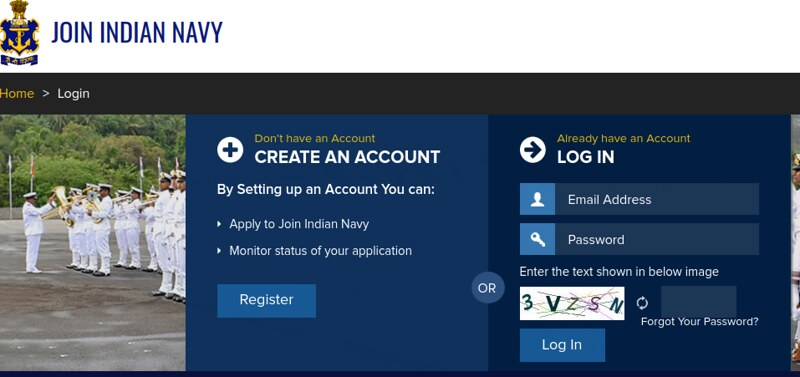 Indian Navy SSR Admit Card 2019 - Log in Page