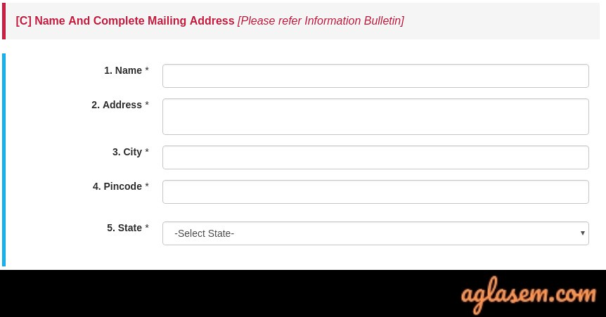 CSIR UGC NET Application Form 2019 - Mailing Address