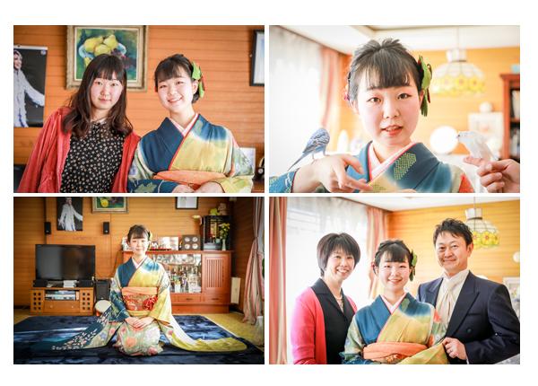 自宅で成人式写真 ペットのインコも一緒に家族写真