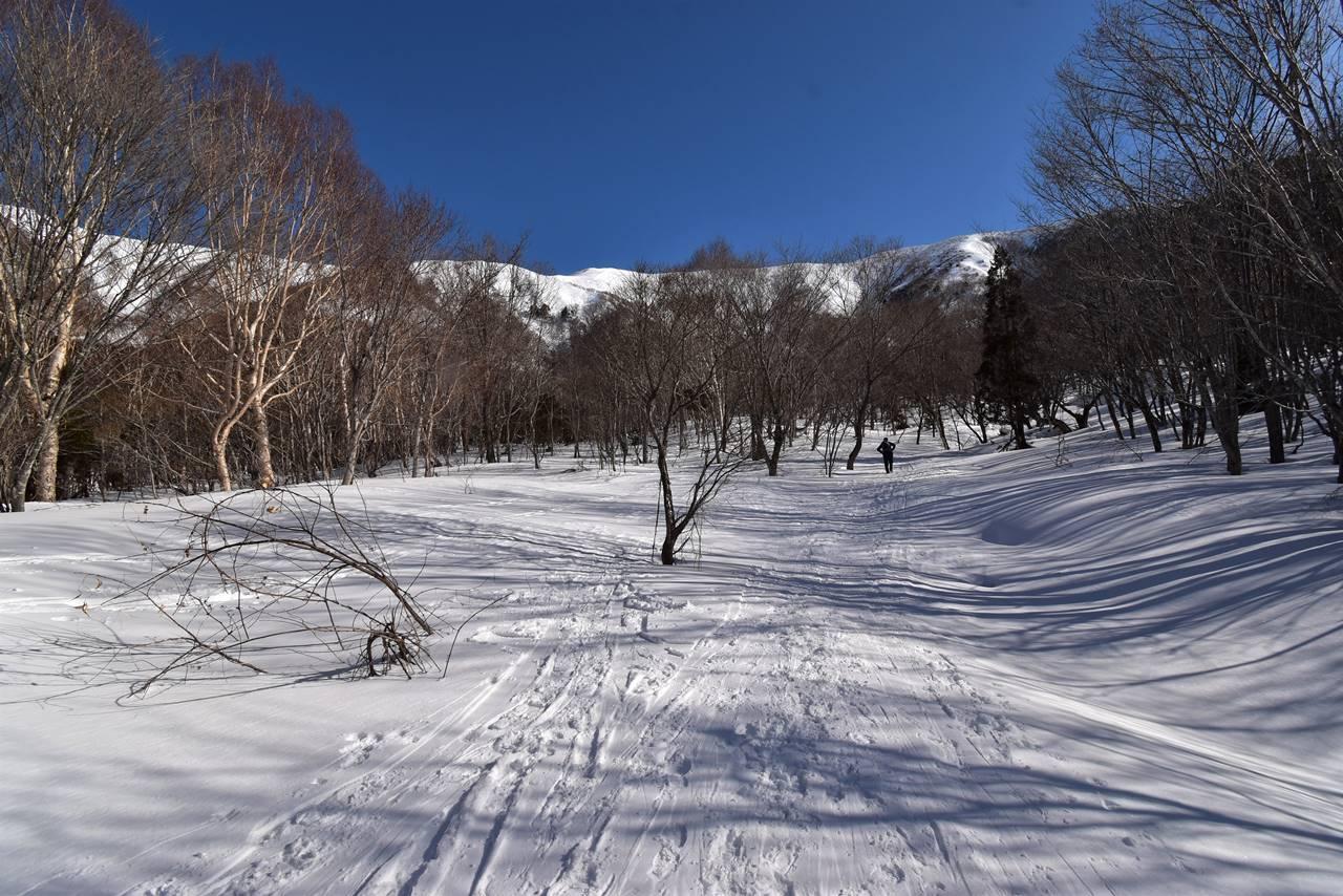 冬の平標山 ヤカイ沢ルート登山道