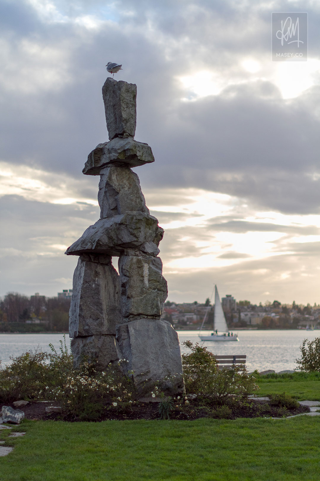 The Ilanaaq Inukshuk on the shores of Vanvouer's English Bay