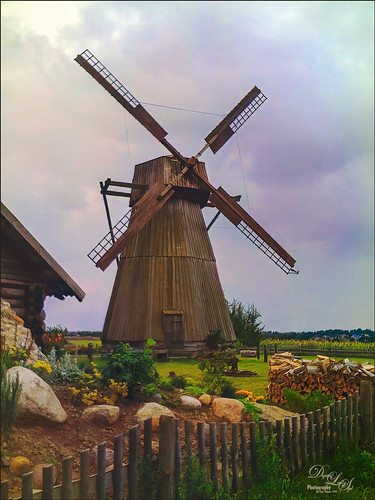 Image of an Old Wooden Windmill in Belarus