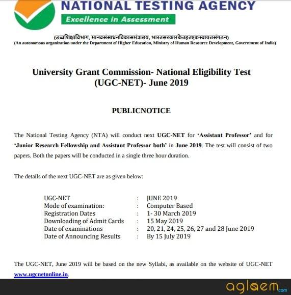 UGC NET 2019 Notice