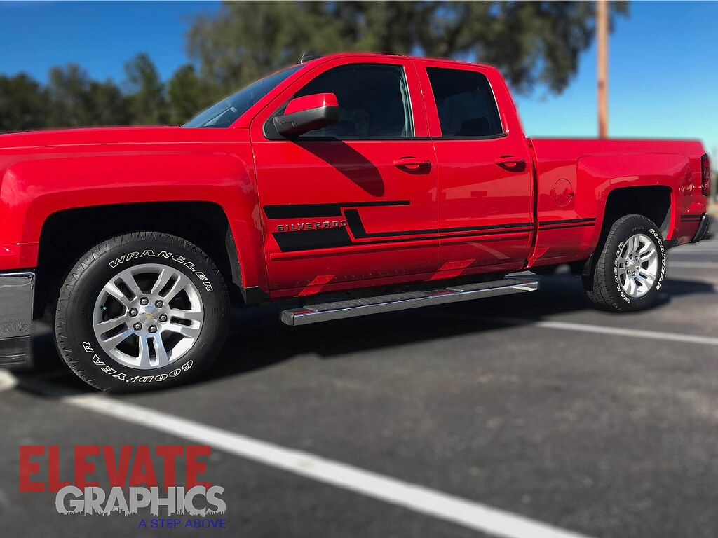 07-18 Chevy Silverado Side Flash Stripe Silverado Vinyl Decals Graphics Stripes