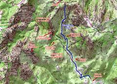 Carte IGN du secteur Carciara - Punta Russa avec les tracés des chemins du Carciara et de Paliri et le chemin de Paliri HR31 en bleu