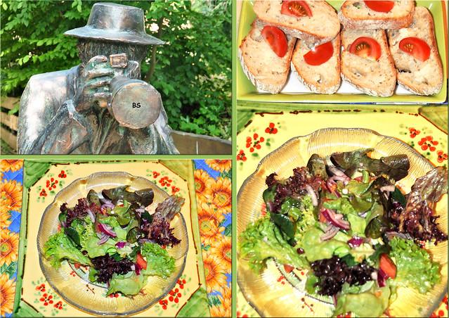 Geröstete Baguettescheiben mit Trüffelbutter, dazu Salat ... Fotos: Brigitte Stolle