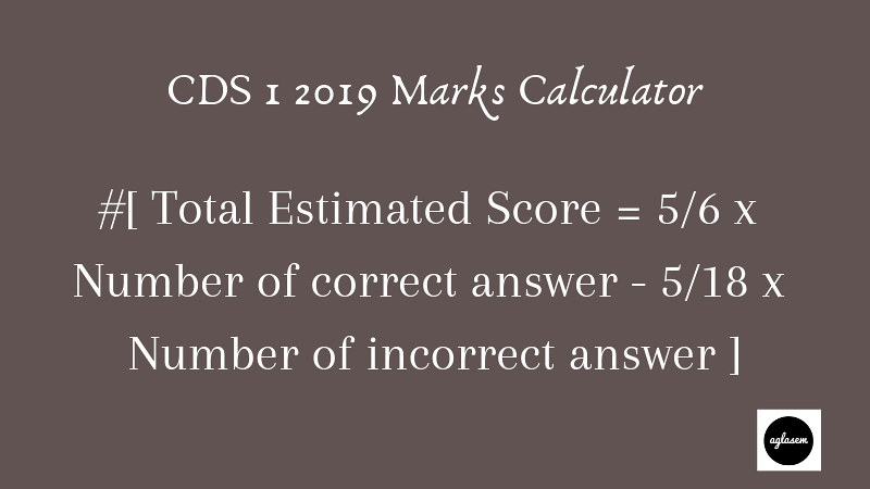 CDS Marks Calculator for English and GK
