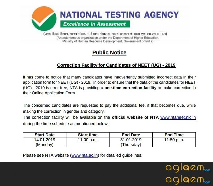 NEET 2019 Application Form Correction (Started Again): Check Date and How to Edit Details here