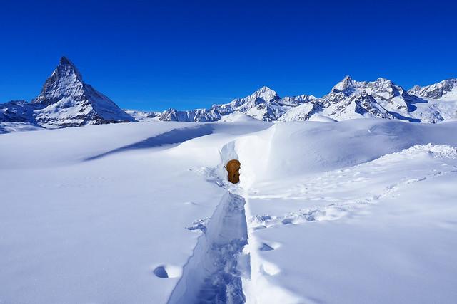 Door in the snow, Zermatt, Switzerland