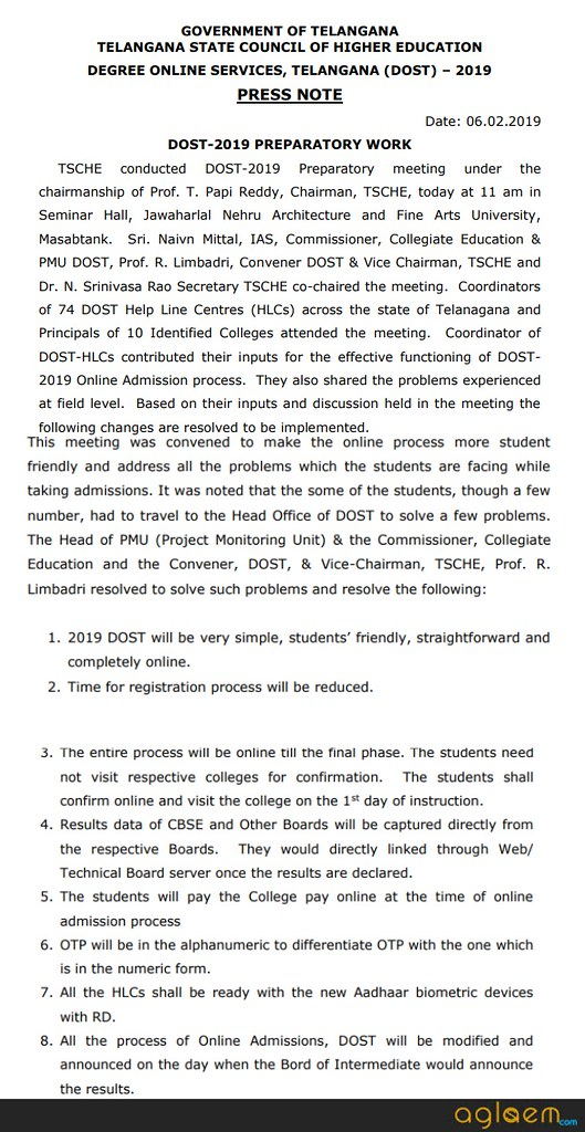 DOST 2019 by TSCHE to be student friendly; Entire process online till final phase