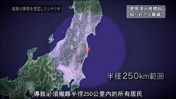 福島核電3號機裡的燃料池,若無法保持低溫,核廢燃料棒開始燃燒,強制避難範圍將廣達半徑250公里。圖片來源:見NHK節目影片(6:20~8:40)https://youtu.be/oqRXRD4FWfo