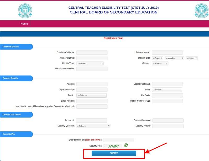 CTET 2019 - Registration Form