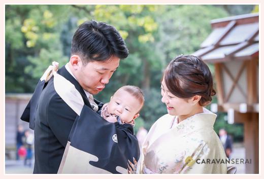 お宮参り 4か月半の男の子の赤ちゃん