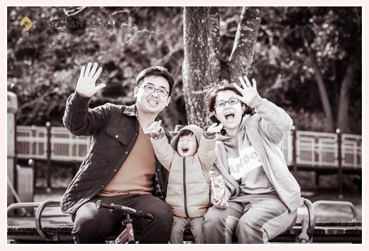冬の大高緑地公園で家族写真 名古屋市緑区