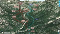Photo 3D du secteur Carciara - Punta Russa avec les tracés des chemins du Carciara et de Paliri et le chemin de Paliri HR31 en bleu