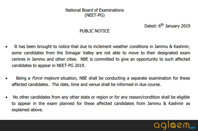 NBE to conduct NEET PG 2019 for Jammu and Kashmir Valley Students; New exam date to be announced soon