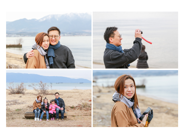 family photo at the lakeside, Lake Biwa, Japan
