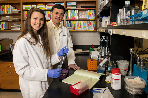 Doug Martin and Cassie Bebout in a lab.