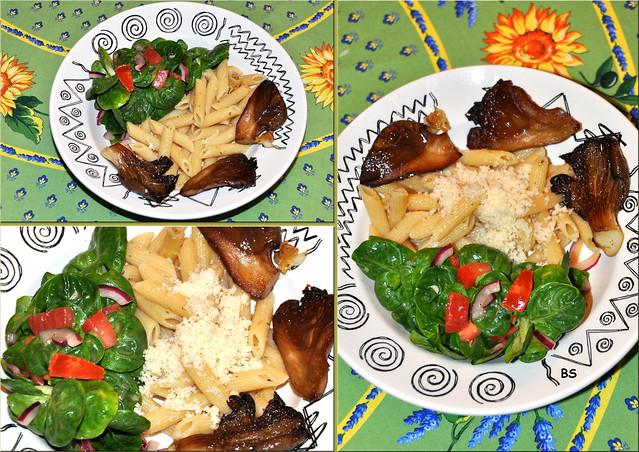 Februar 2019 ...1. Pasta mit Knoblauchöl, 2. sehr knusprig gebratene Austernpilze sowie 3. Feldsalat mit Himbeeressig angemacht ... Fleischlos glücklich, vegetarisch, ohne Käse vegan, bunt und farbenfroh ... Foto: Brigitte Stolle
