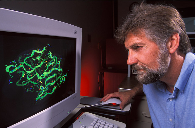 USDA-ARS Chemist Vince Edwards examining a computer image of an enzyme model