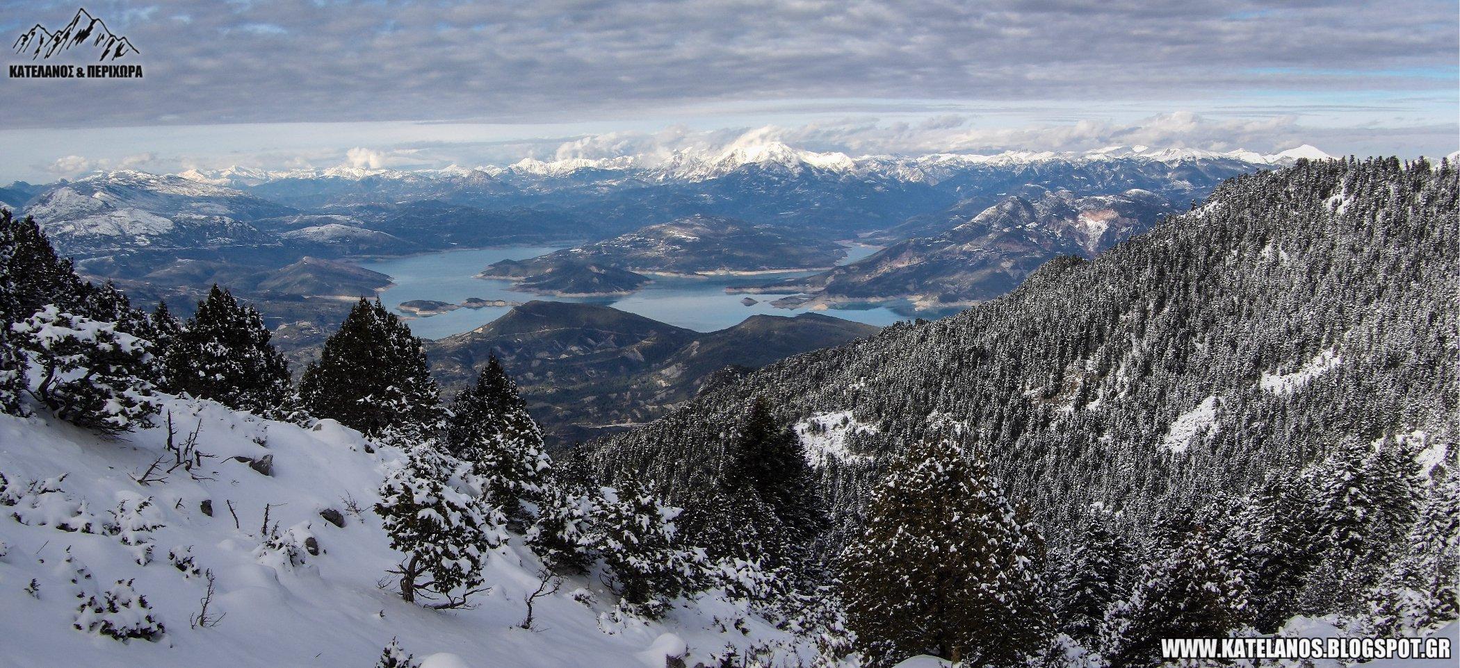 χιονισμενα ορεινα τοπια λιμνη κρεμαστων αιτωλοακαρνανια αξιοθεατα φυση