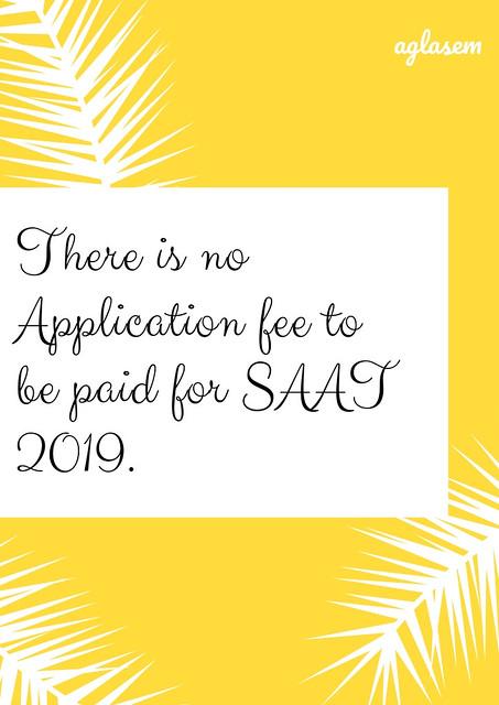 SAAT 2019 Application Fee